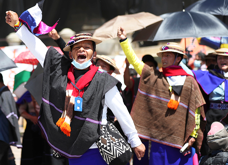 Indigenous Misak join in anti-government protest in Bogotá, Colombia, June 2, demanding jobs, guaranteed income, subsidies for small farmers and dismantling of hated riot police.