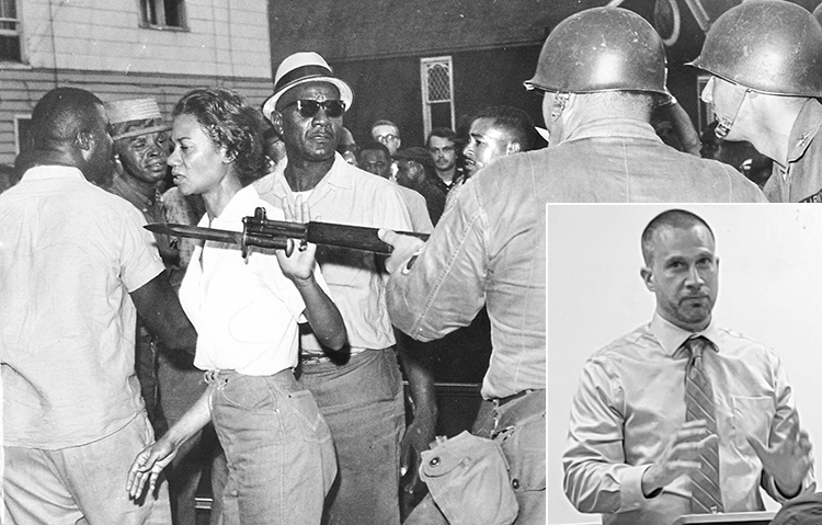 SWP candidate for Minneapolis mayor Doug Nelson, inset. Campaign points to how 1964 Black rights protests led by Gloria Richardson, above, in Maryland built solidarity, cut crime.