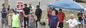 Picket at Volvo Truck plant in Dublin, Virginia, June 7. UAW members voted down contract offer for second time by 90%.