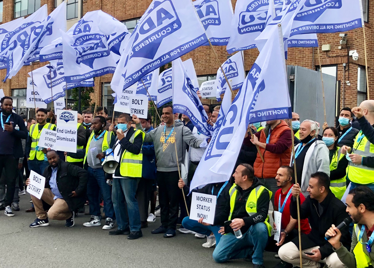 London protest at Bolt, app-based cab hailing company, by 100 members of App Drivers and Couriers Union June 22. They logged off, called for passenger boycott in 24-hour strike.