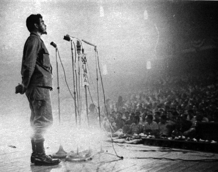 """Che Guevara at First Latin American Youth Congress in Havana in 1960. He said Cuban revolution was """"Marxist"""" and that """"it discovered, by its own methods, the road pointed out by Marx."""""""