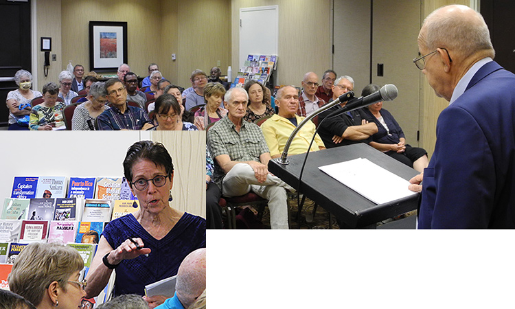 Steve Clark, SWP leader, speaks at Atlanta forum June 26 on how party met test of capitalist crisis, pandemic by campaigning widely among working people. Inset, SWP leader Mary-Alice Waters speaks during the discussion period.