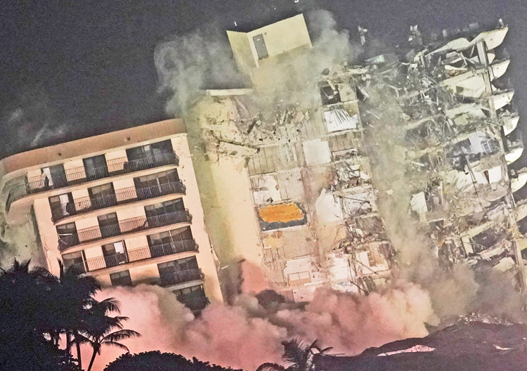 Partly collapsed Surfside building brought down by controlled demolition, July 4. Government officials, building owners knew about structural problems for years, did nothing to fix them.