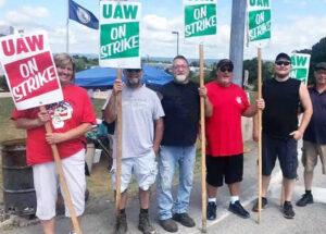 United Auto Workers members on strike at Volvo truck plant in Dublin, Virginia, June 27.