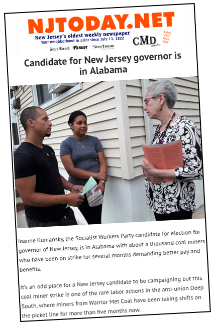 Front page of online edition of NJTODAY Aug. 11 covers Socialist Workers Party campaign of Joanne Kuniansky, at right, for governor. She joined rally in Brookwood, Alabama, of Warrior Met miners on strike Aug. 4. Article explains what the miners' strike, now in its fifth month, is about, quoting from interviews with miners taken from the United Mine Workers union website.