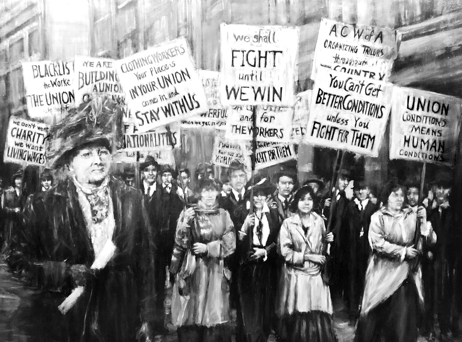 """Painting of Mother Jones around 1900 leading protest by union workers. Communist leader Leon Trotsky called her a """"heroic American proletarian"""" with """"unflagging devotion to working people,"""" noting she had """"contempt for traitors, careerists among working-class 'leaders.'"""""""