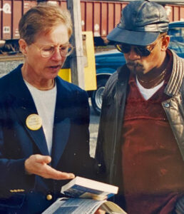 Moriarity, SWP candidate for governor of Pennsylvania in 1998, campaigning at USX Clairton Works, where she worked.