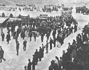 Peasants rally in support of Russian Revolution. When Bolshevik Party led the Soviets to take power, they abolished private ownership in land, turned farms over to those who tilled them.