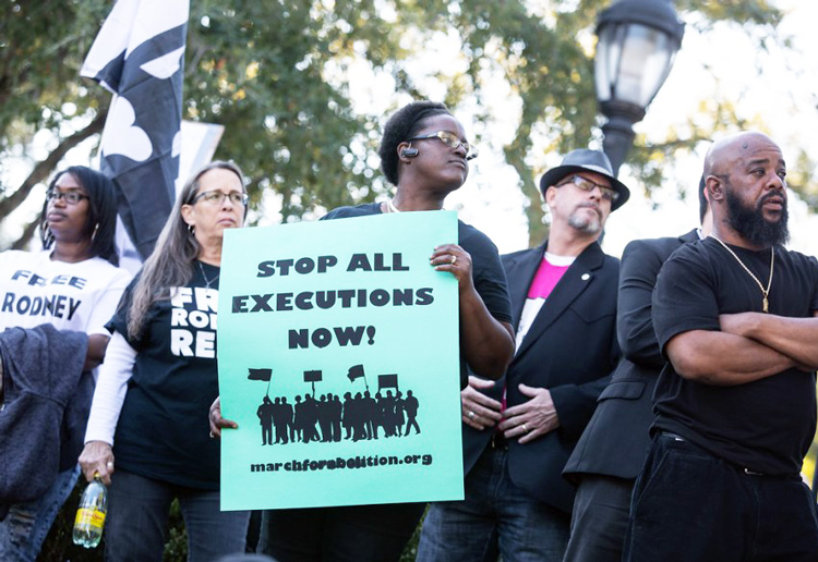 Protest in Texas against death penalty and execution of Rodney Reed in 2019. Reed, who has been on death row more than 23 years, and John Ramirez, who is scheduled to be executed Sept. 8, are two of the 198 prisoners on Texas death row, and of some 2,550 across the country.