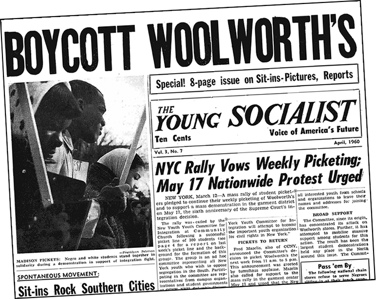 April 1960 Young Socialist campaigns to build mass protest movement that won desegregation at Woolworth's. Inset, Frank McCain in February 1960, who with three fellow Black students began sit-in movement in North Carolina.