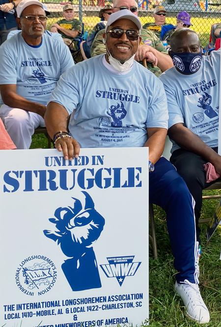 Dockworkers at Brookwood, Alabama, rally in solidarity with Warrior Met strikers.