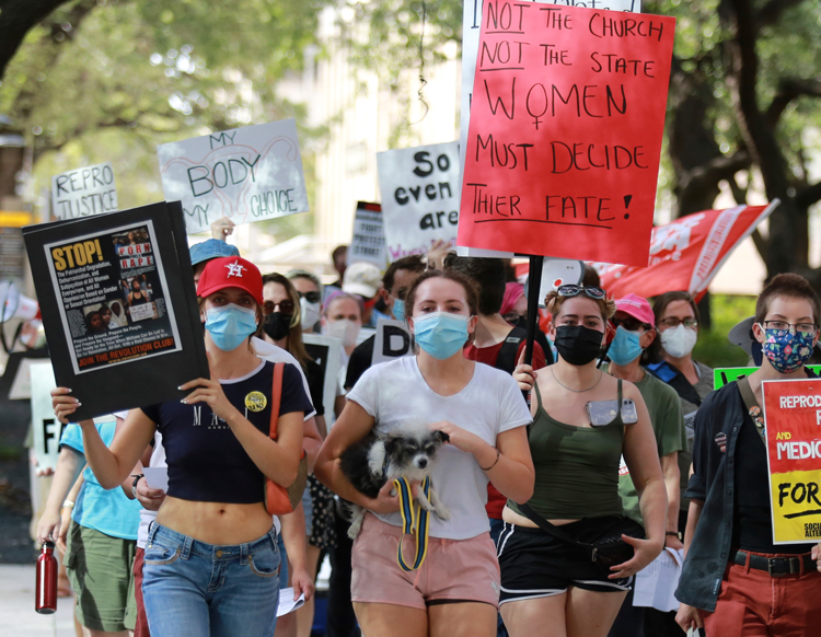 Houston protest Sept. 5 hits new gov't attack on women's right to choose to have an abortion.