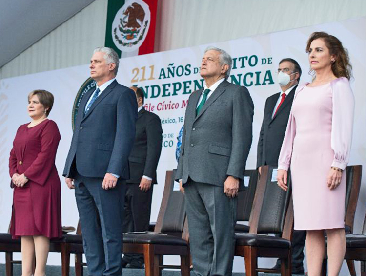 From left, Lis Cuesta Peraza and her husband, Cuban President Miguel Díaz-Canel; Mexican President Andrés Manuel López Obrador and his wife Beatriz Gutiérrez Muller. Díaz-Canel was guest of honor at Mexico's independence day event, a blow to U.S. drive to isolate Cuba.