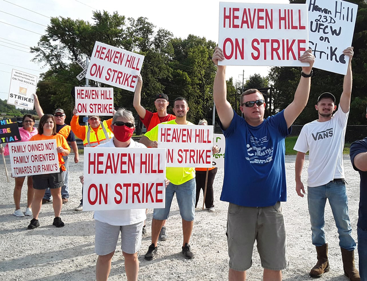 Strikers and supporters picket Heaven Hill bourbon plant in Bardstown, Kentucky, Sept. 11.