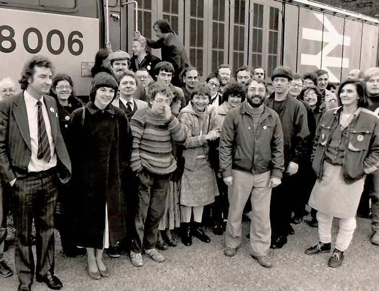 Rose Knight, fourth from left in front row, visiting fellow rail workers in Coalville, part of a solidarity delegation of National Union of Railwaymen members during 1984-85 coal strike. Inset, Knight at 2009 London protest against U.S., U.K. rulers' war in Afghanistan.