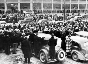 Sit-down strike in 1937 by United Auto Workers at General Motors plant in Flint, Michigan. When political pressures came down on the Socialist Workers Party on eve of the second imperialist world war, James P. Cannon led the fight to deepen the party's proletarian orientation.