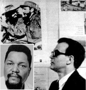 Ed Shaw, right, Midwest organizer of Fair Play for Cuba Committee and a leader of the Socialist Workers Party, and Robert F. Williams, inset, Black rights leader and former autoworker, did 1961 nationwide speaking tour to build movement to defend Cuba's socialist revolution from Washington's attacks.