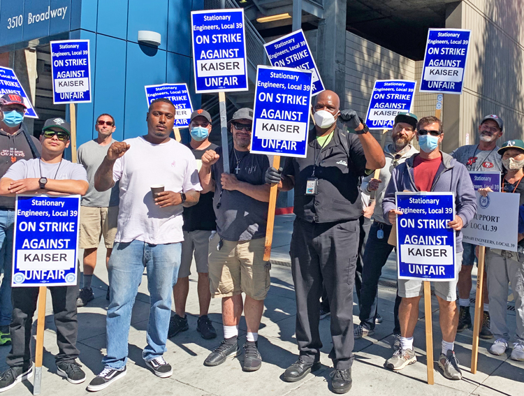 """Sept. 22 picket at Kaiser hospital in Oakland, California, one of 24 where operating engineers are on strike. This fight """"is bringing our crew together,"""" said striker Michael Salas."""