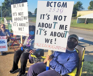 Some 1,400 members of Bakery Workers union began nationwide strike at Kellogg's four cereal plants Oct. 5. Above, workers picket in Memphis, Tennessee. Other plants struck are in Battle Creek, Michigan; Omaha, Nebraska; and East Hempfield Township, Pennsylvania.